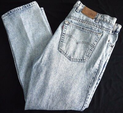 VINTAGE 80s LEVIS 540 ACID WASH denim jeans mens 44x30 MADE IN USA leather tag