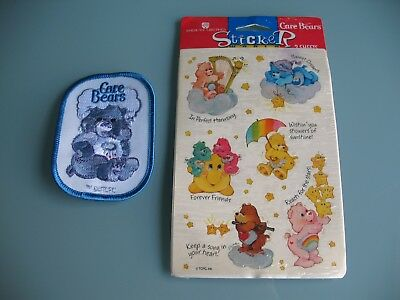 CARE BEARS Vintage Lot Stickers and Grumpy Bear Patch! Free Shipping!