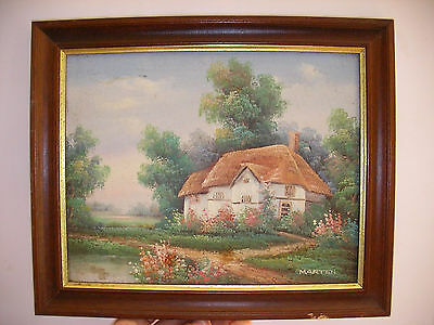 Vintage Oil Painting On Board Of Country Cottage By Marten.