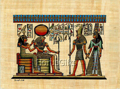 **Rare** Genuine Hand Painted Authentic Egyptian Papyrus (Ra, Nefertari, Horus)