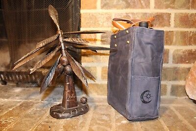 Wine Tote Waxed Canvas with Genuine Leather Handles (Charcoal Grey)