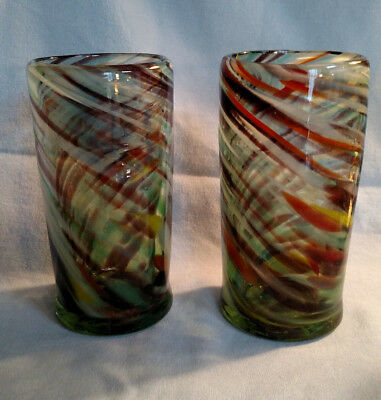 Pair of Handmade Blown Multicolor Tumblers - Mexican?