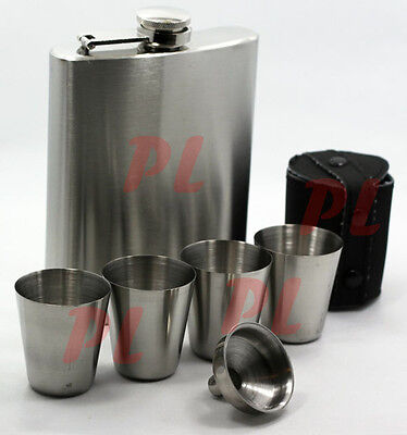 7 oz Stainless Steel HIP FLASK  w/ 4 Shot Glasses Cups  Party Cup**LIQUIDATION**