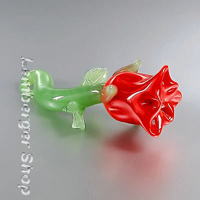 Glass figurine flower made of colored glass. Lenght 6,5 cm / 2.6 inch!