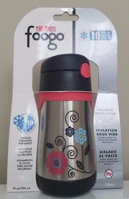 THERMOS FOOGO Vacuum Insulated Stainless Steel Poppy Patch 10 oz Straw Bottle