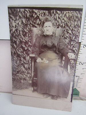 Antique Vintage Postcard Photograph Woman In Mourning Black Holding Flowers