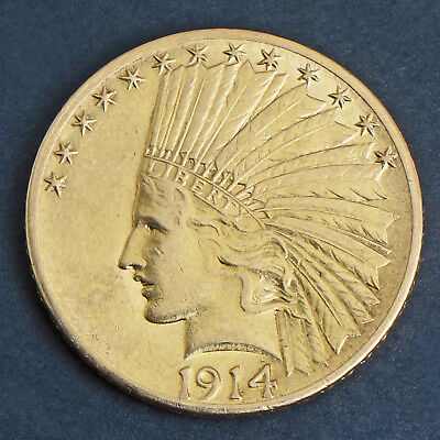 1914 S US Indian Head Gold Eagle $10 Dollar Solid Fine Gold Coin, No Reserve!