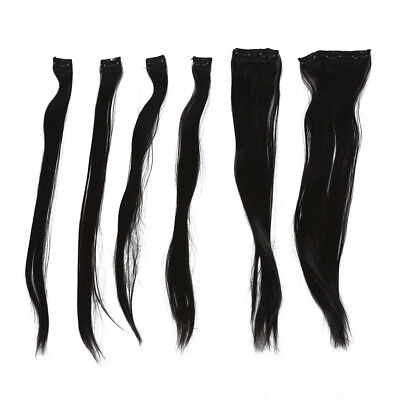 6 Pieces Black Straight C in Hair Weft Extensions U7T8