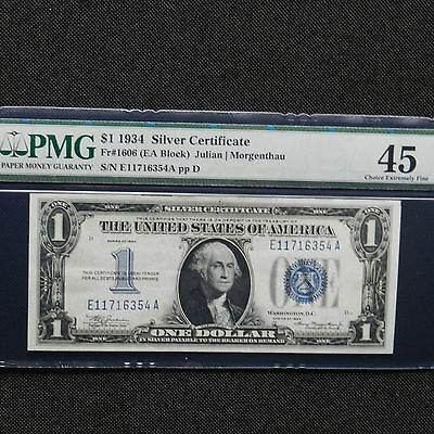 $1 1934 Silver Certificate. PMG 45, Fr # 1606 (EA Block), Funny Back