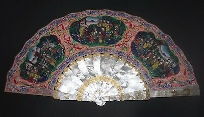 Superb Antique Chinese Deep Hand Carved Mother Of Pearl Gold Gilt 100 Faces Fan