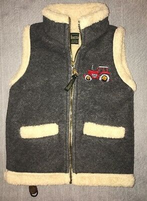 Shire Classics Fleece Lined Vest boys Small Gray with Embroidered Tractors