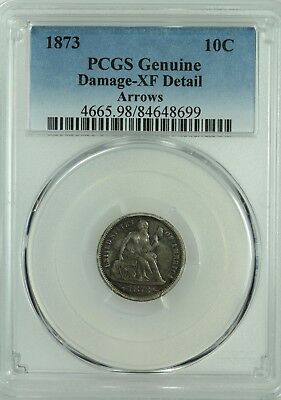 1873 Seated Dime! Pcgs Xf Details! 10C! Arrows! Us Coin Lot #6377