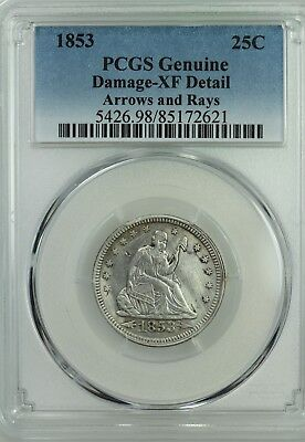 1853 Seated Quarter! Pcgs Xf Details! 25C! Us Coin Lot #6415