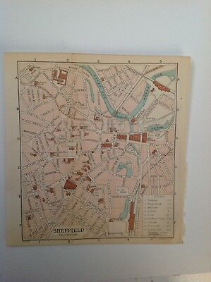 Sheffield, Street Plan, 1908 Antique Map,  Original