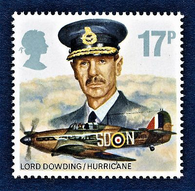 GB Lord Dowing and Hawker Hurrucane Mk1 on a stamp U/M 13