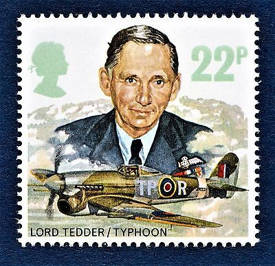 GB Lord Tedder and Hawker Typhoon 1B RAF Royal Air Force on a stamp U/M 13