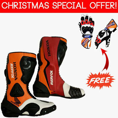 Honda Repsol Motorbike Shoes Racing Real Leather Rider Shoes with Free Gloves
