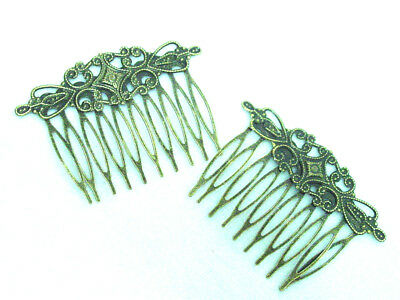 Victorian Vintage re-production style pair of brass toned hair comb gift boxed
