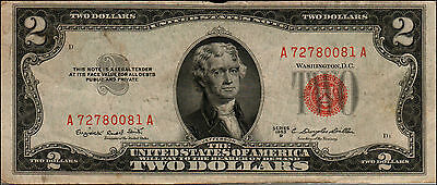 1953B $2 Dollar Bill Old Us Note Legal Tender Paper Money Currency Red Seal Y999