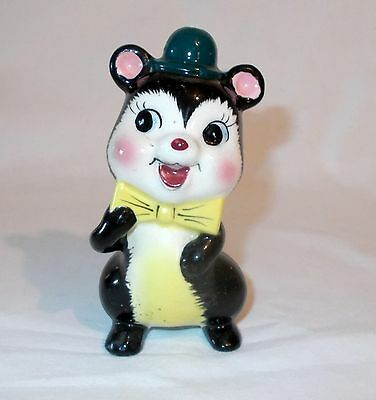 "Ceramic Skunk Figurine 4.75"" Japan"