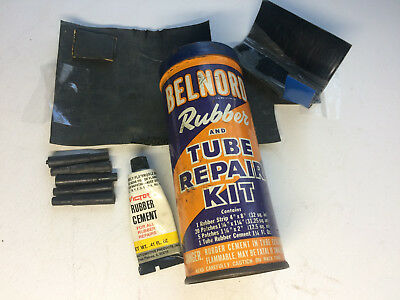 VINTAGE Belnord  RUBBER TUBE REPAIR CAR TIRE PATCH KIT TIN CAN w/Glue & Plugs