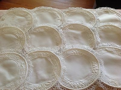 """Collectible set of 12 8.5"""" round linen white doilies hand embroidered lace borde"""