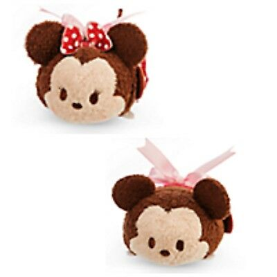 Disney Store Mickey and Minnie Mouse Valentine Candy Tsum Tsum 2PC Set Mini 3.5""
