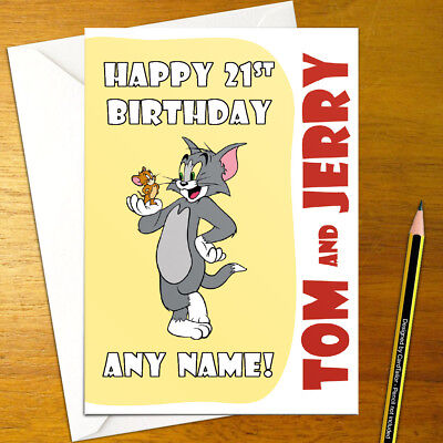 Tom And Jerry Personalised Birthday Card A5 Cartoon Cat Mouse