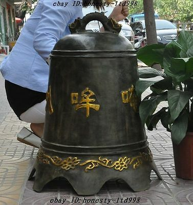 """26"""" Old Chinese Buddhism Temple bronze gild Dragon Statue Pray Bell Chung Zhong"""
