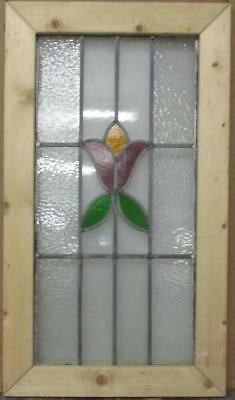 "LARGE OLD ENGLISH LEADED STAINED GLASS WINDOW Cute Floral 18"" x 32"""