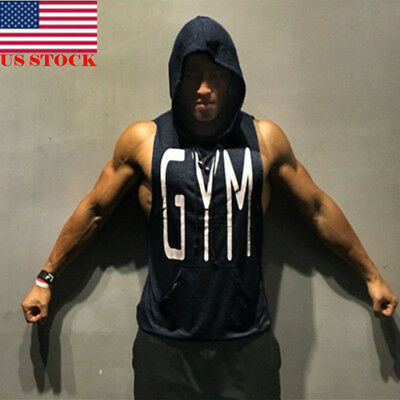 US Men Sleeveless Muscle Tank Top T-Shirt Bodybuilding Gym Fashion Casual Hoodie