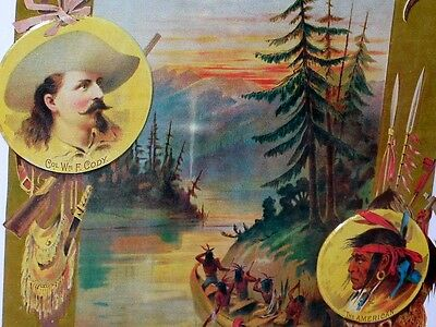 BUFFALO BILL - Col. Wm F Cody --- Shows Indians in a Canoe - OLD SIGN Dated 1994
