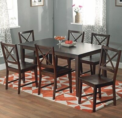 7 PC ESPRESSO Dining Room Set Wood Kitchen Furniture Table 6 Chairs Dinette  Sets
