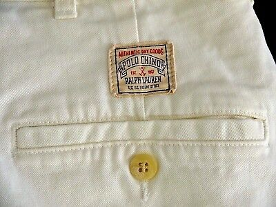 VINTAGE POLO RALPH LAUREN white chino cotton SHORTS mens 38 pleated MADE IN USA