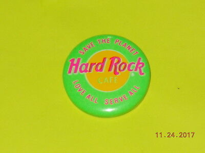 Hard Rock Cafe Button - Save the Planet Love All Serve All - Green & Pink