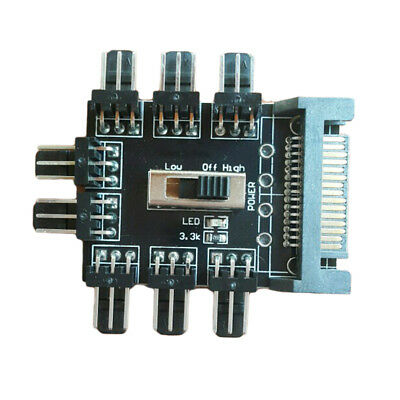 PC SATA 1 to 8 Splitter Cooler Cooling Fan Hub 3pin 12V PCB Adapter Controller