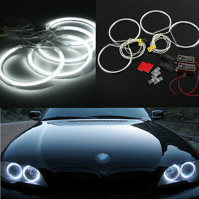 4x Xenon White CCFL LED Angel Eyes Halo Ring Light Lamp Kit For BMW E46 E36 E39