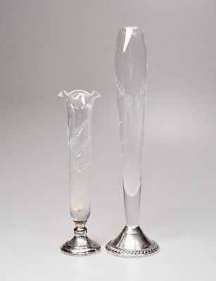"2 Vintage Etched Glass Sterling Silver Base Bud Vases 7.25"" Webster + 10"" Duchin"