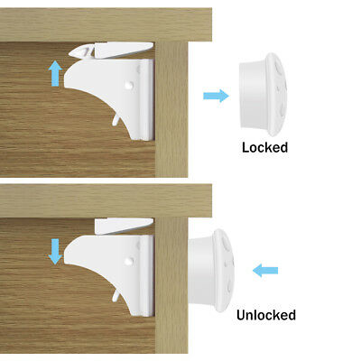 4X Invisible Safety Baby Magnetic Cupboard Drawers Locks Door Child Baby Lock AF