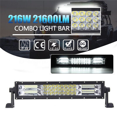 15inch 216W Tri-Row LED Work Light Bar Flood Spot Combo Driving Lamp Offroad SUV