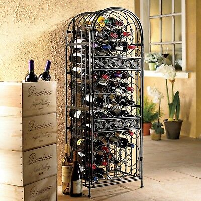 Wrought Iron Wine Rack 45 Bottle Stylish Antique Slide Lock Door Bronze Finish