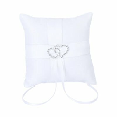 White Double Heart Wedding Party Pocket Ring Pillow Cushion 10*10cm I0F0