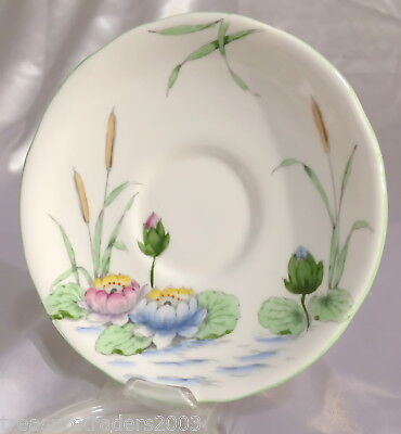 🌟 Pink & Blue Water Lilys Green Leaves In Pond Saucer Royal Stafford England