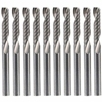 """Spiral 1/8"""" Shank Single Edged Flute End Mill CNC Cutter Router Bits Cutting Set"""