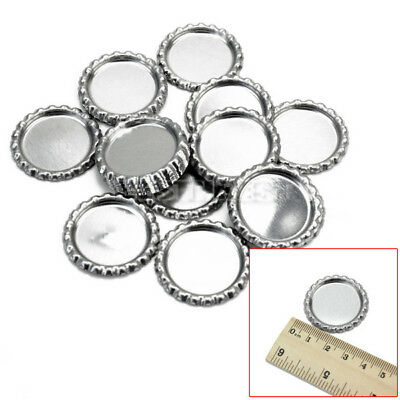 20 Pcs New Flat Silver Bottle Caps For Necklaces Brooch Earrings DIY Crafts