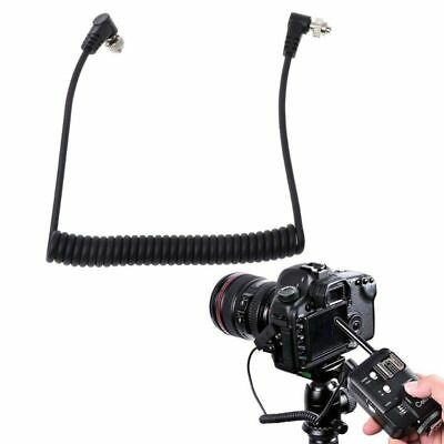 M-M PC Cord Sync Male To Male Flash Spring Cable With Screw Lock For CANON NIKON
