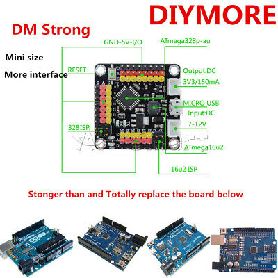 For Arduino DM Strong 16MHz Mini UNO R3 Board ATmega328 ATmega16U2 SPI IIC I/O