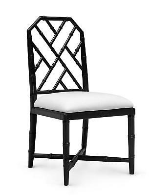 Bungalow 5 Jardin Traditional Black Lacquered Mahogany Side Chair Set of 2