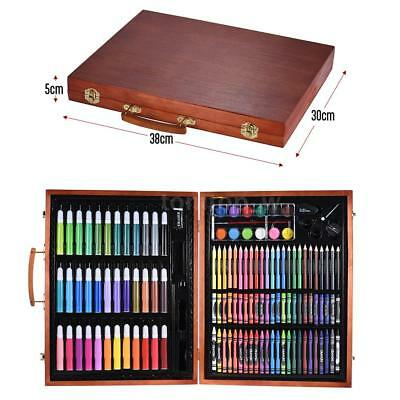 Art Set Wood Case For Kids Teen Deluxe Wooden Box Artist Drawing Kit Pencil I1T4
