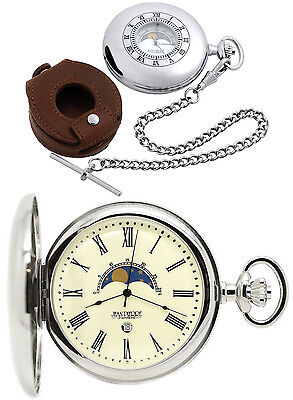 Jean Pierre Half Hunter Moon Dial Pocket Watch Chrome Plated Free Engraving D6